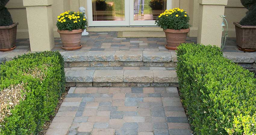 steps and walkway made of pavers