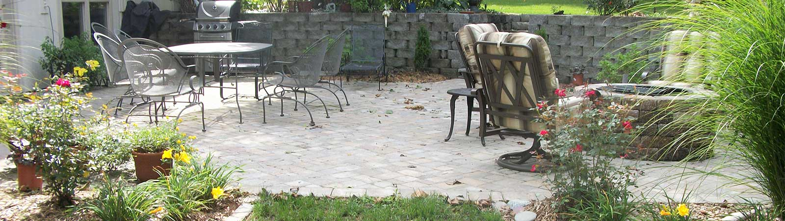 patio made of paving stones with chairs