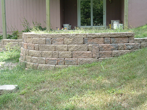 Retaining wall around patio