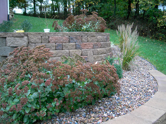 Retaining Wall with plants in front