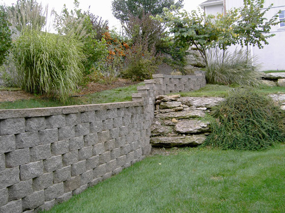 Retaining Wall separating yard